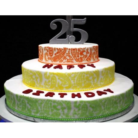 25th birthday paisley cake