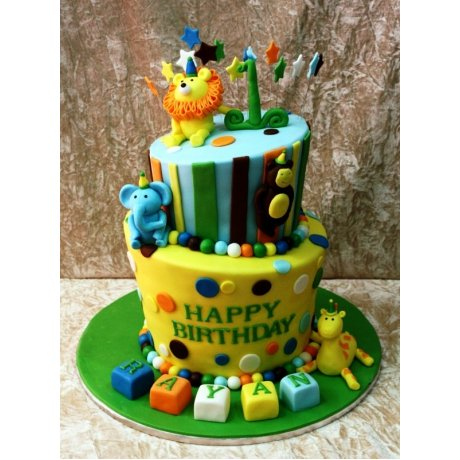 cute jungle animals cake 8