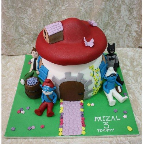 Astounding Ben 10 Batman And Smurfs Cake Funny Birthday Cards Online Overcheapnameinfo