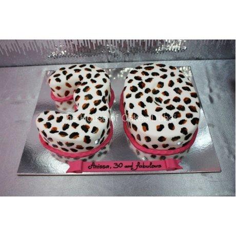 30th Leopard print cake
