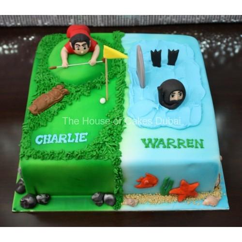 Golfer and diver cake