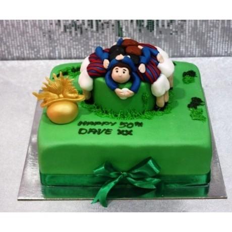 Rugby Scrum Cake