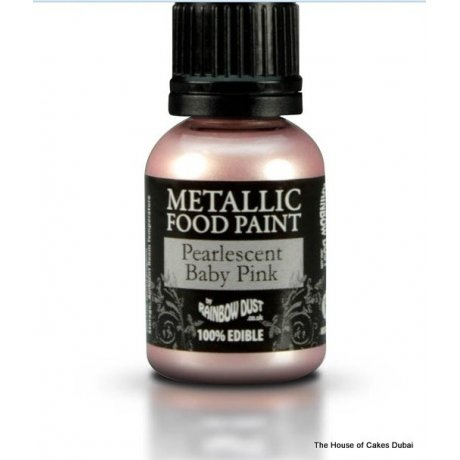 metallic food paint - pearlescent baby pink 6