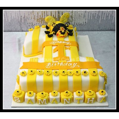 First Birthday Cake with bee