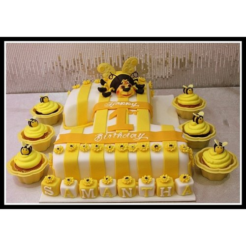 1st Birthday Cake and cupcakes with bee
