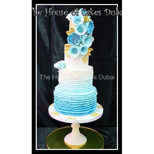 Blue ruffles cake