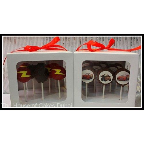 Lightning Mcqueen cake pops