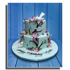 Birds and flowers cake