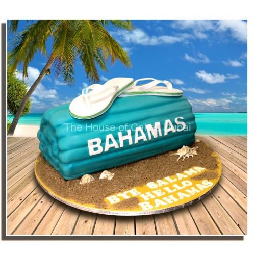 Bahamas flip flops and beach towel cake