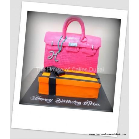 Hermes box and Birkin bag cake