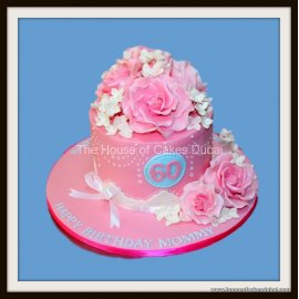 Tremendous Pink Birthday Cake With Roses Personalised Birthday Cards Veneteletsinfo