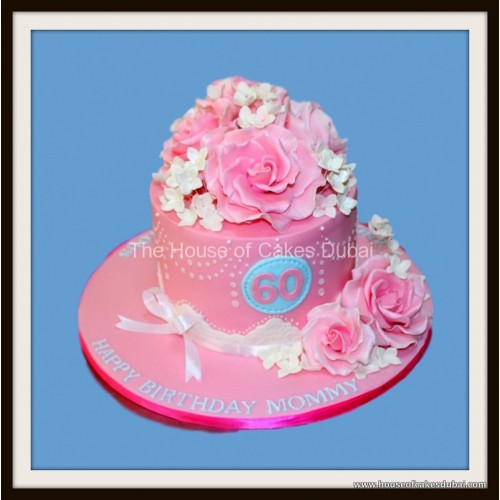 Fine Pink Birthday Cake With Roses Funny Birthday Cards Online Elaedamsfinfo
