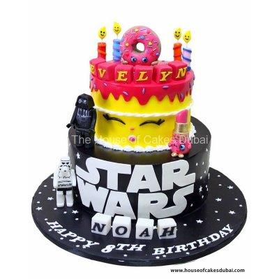 Half Star wars and Half Shopkins cake