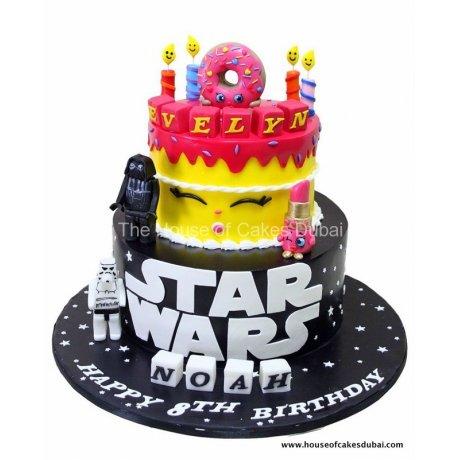 half star wars and half shopkins cake 6