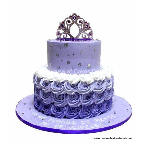 purple cake with princess crown 6