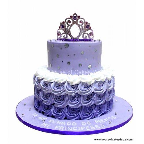 purple cake with princess crown 7