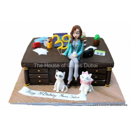 desk and cats cake 6