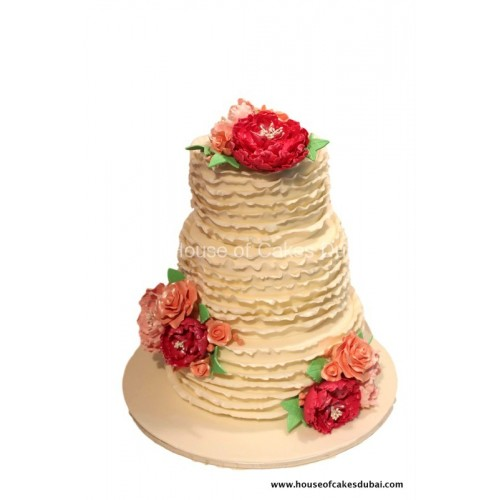 Cake with ruffles and flowers