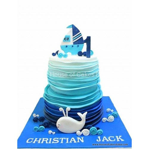 nautical sea boat theme cake 7