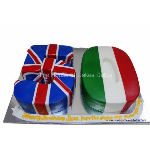 50th birthday flags cake