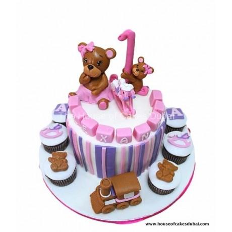 teddy bear cake and cupcakes 2 7