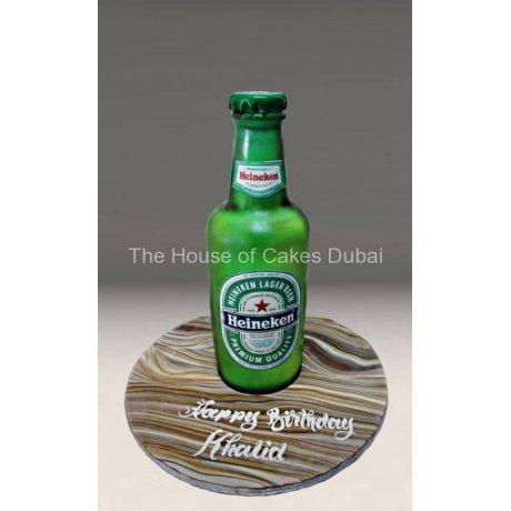3D Heineken beer bottle cake