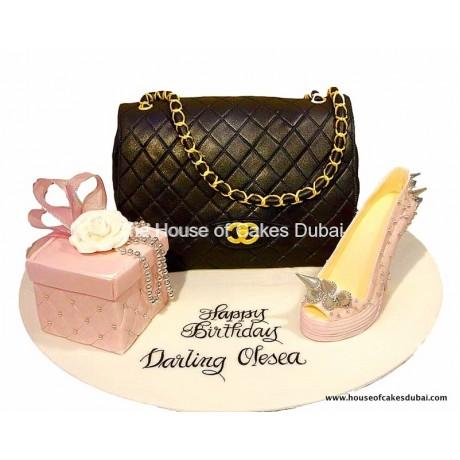 Chanel bag and Louboutin shoe cake