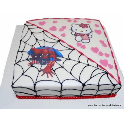 Half Spiderman half Hello Kitty cake