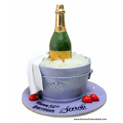 champagne in bucket cake 7