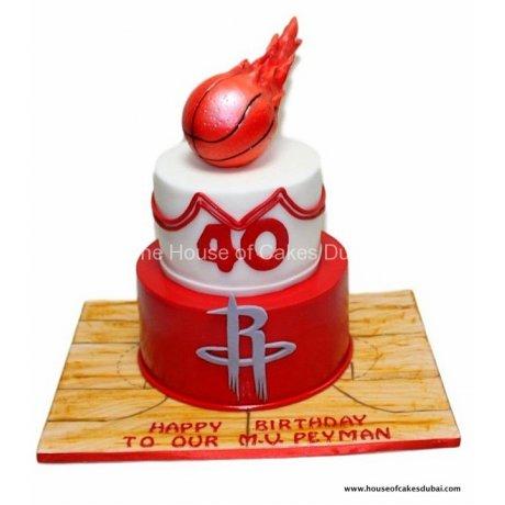 basketball on fire cake 12