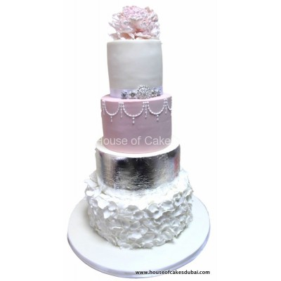 Classy elegant cake pink silver and white
