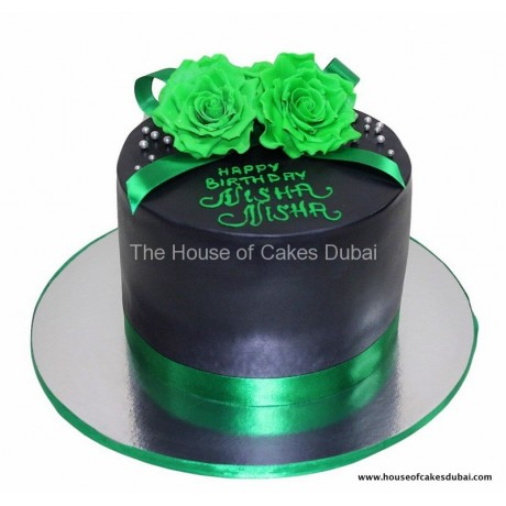 Black and green cake