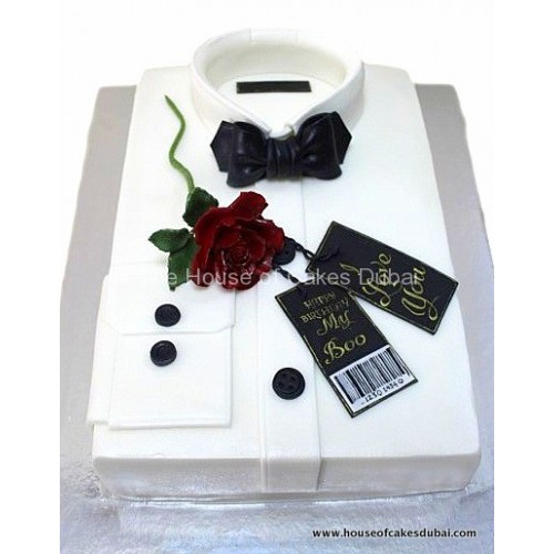White shirt and rose cake