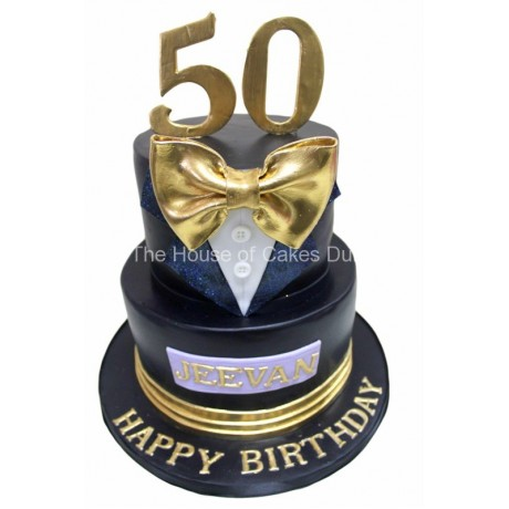 classy tuxedo 50th birthday cake for men 6