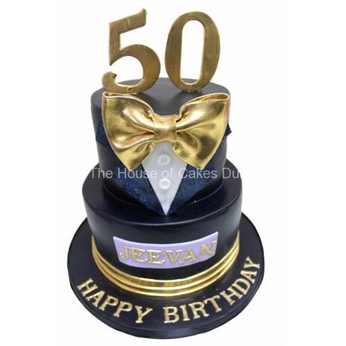classy tuxedo 50th birthday cake for men 7