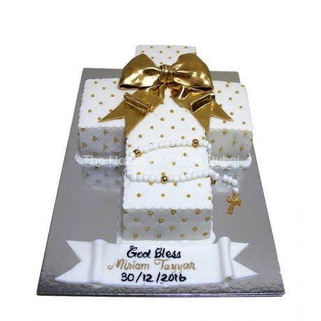 White and gold cross cake