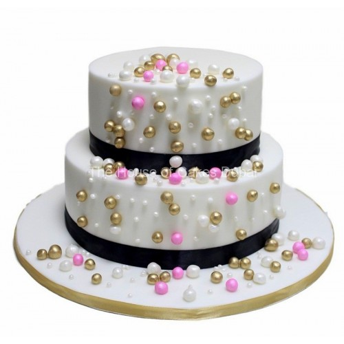 cake with pink, gold and white balls 7