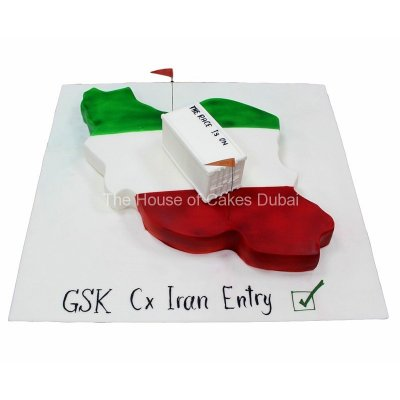 Iran map cake with container