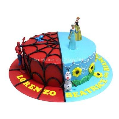 Half Spiderman Half Frozen Cake