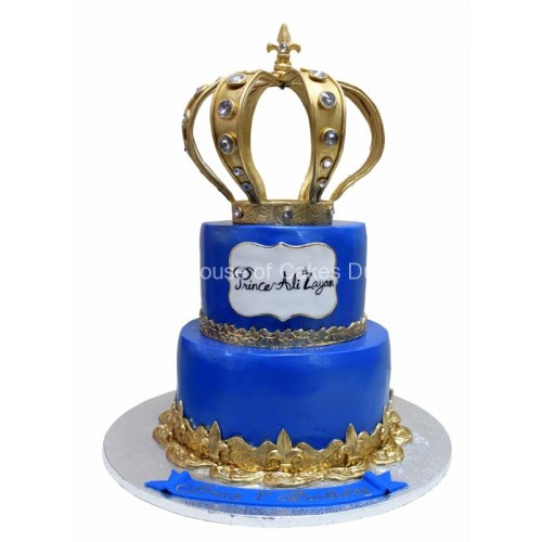 Marvelous Royal Blue Cake With Golden Crown Birthday Cards Printable Trancafe Filternl