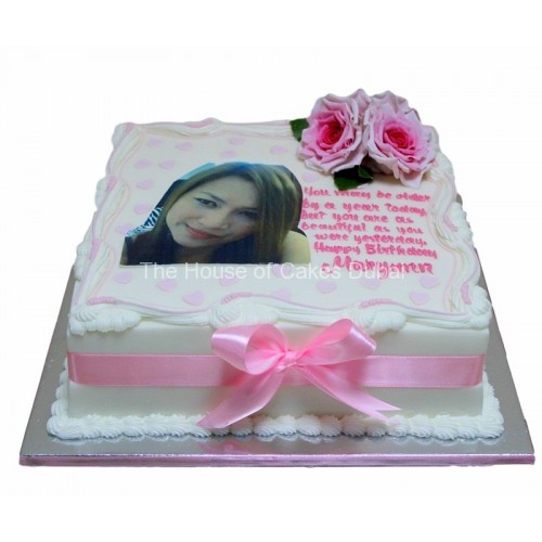 Cake with photo and roses