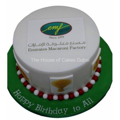 Round corporate cake with logo 3