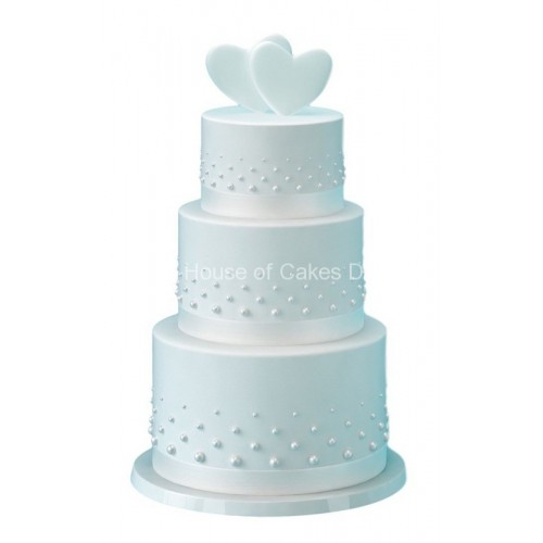 Pure white cake with hearts