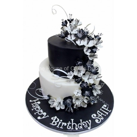 black and white cake with flowers 6