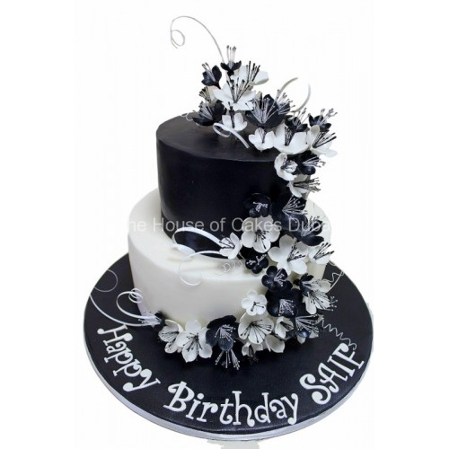 black and white cake with flowers 8