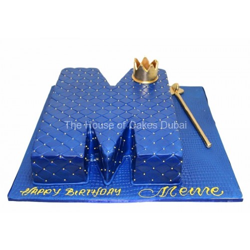 Letter M cake with crown - dark blue
