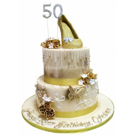 golden shoe cake 6