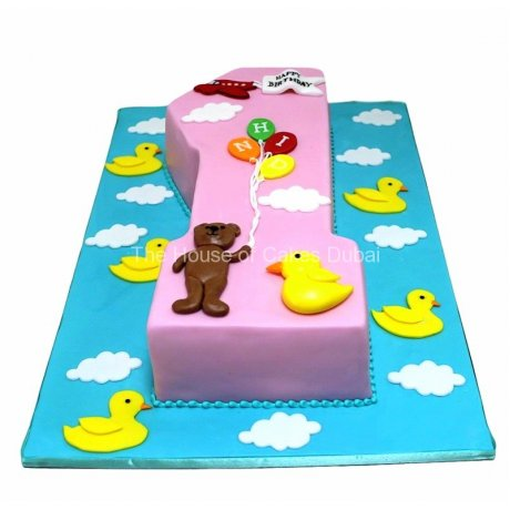 first birthday cake with bear and ducks 6