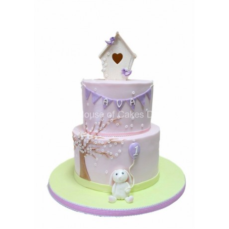 cute cake with rabbit and bird cage 6
