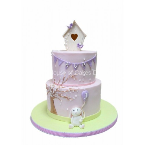 cute cake with rabbit and bird cage 7